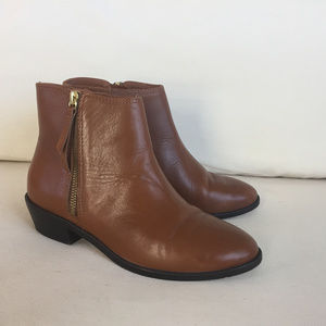 J Crew 6 Brown Leather Ankle Boots Booties